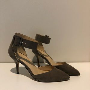 Zara Grey Faux Suede Pumps with Ankle Buckle Sz 9